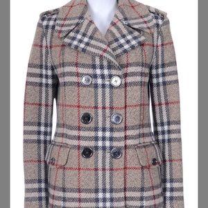 Burberry Nova Check Plaid Wool Pea Coat